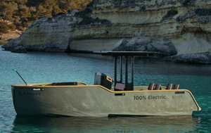 X Shore electric boats Eelex 7800 model in a remote Scandinavian bay