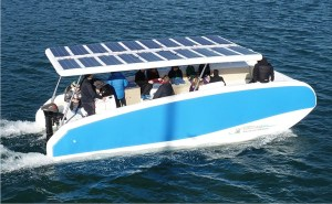 Electricat inflatable solar electric boat