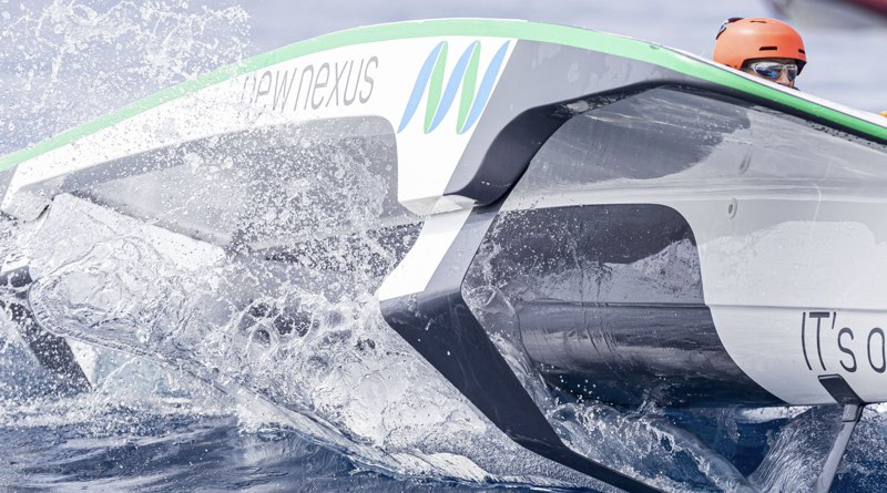 monaco solar challenge boat close up going through a wave