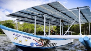 The proof of concept solar boat - panels on a traditional Balinese catamaran