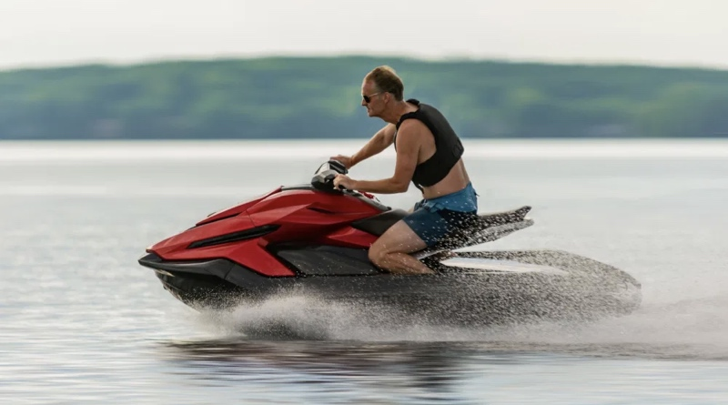 Man riding lowest price of Taiga electric jetskis