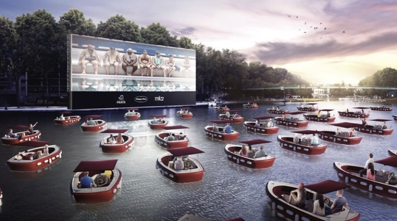 floating cinema is made up people in electric boats on the banks of the Seine in this artists conception