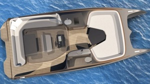 overhead view of electric catamaran showing lacement of head, galley, L-lounge seating and front daybed