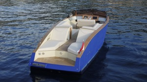 Monaco electric boat interior showing sustainable materials