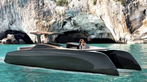 electric power catamaran - artist conception - in a secluded bay