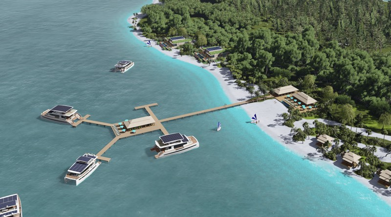 solar powered resort shows solar roofs of 6 Silent Yachts moored to a jetty coming out from a tropical island and beach