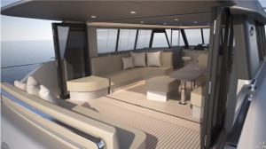 solar electric catamaran looking at the interior and outdoor aft deck
