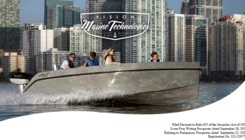 Electric boat company prospectus cover showing boat in Miami harbour