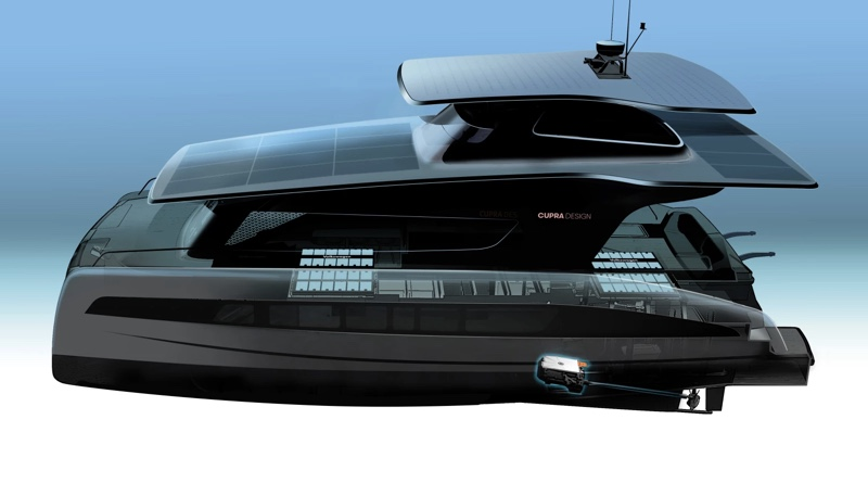 Artist conception of Volkswagen Silent-Yachts catamaran