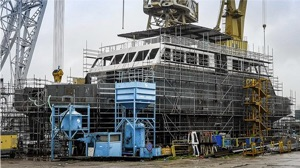 Electric ferry being built in shipyard