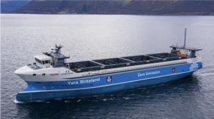 Yara Birkeland autonomous ferry sailing in open water