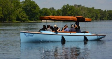 One of 15 Vision Marine electric boats already on the Prairies River outside Montreal