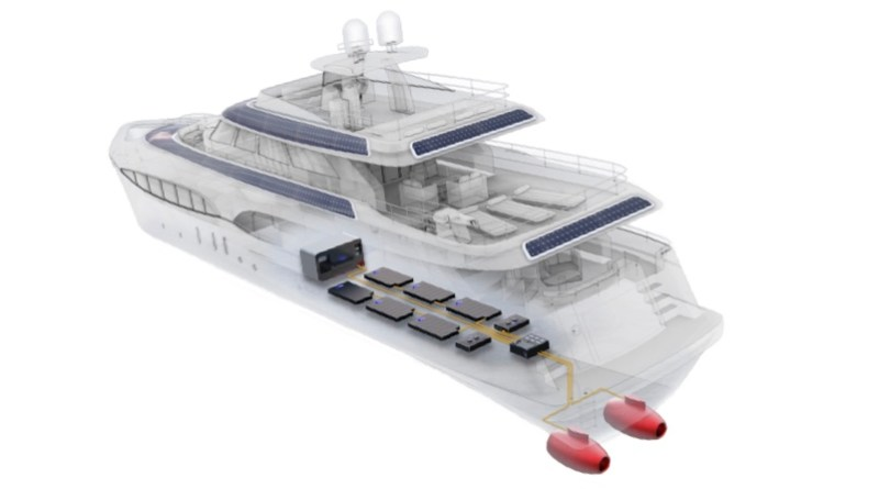 500 kilowatt electric hydrojet shown in cutaway view of large yacht