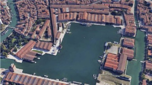 aerial view of the Arsenale where electric boat regatta will be held held in