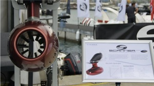 electric hydrojet boat motor on display at the Genoa boat show October 2020
