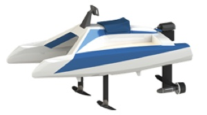 electric hydrofoiling catamaran out of water showing foils and motor