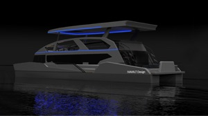 solar leisure boats at night with lights around deck and roof