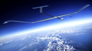1st battery breakthrough was on this Airbus Zephy unmanned craft shown flying in orbit over Earth