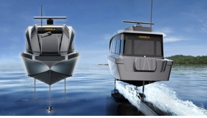 electric hydrofoiling water taxi stern and bow view