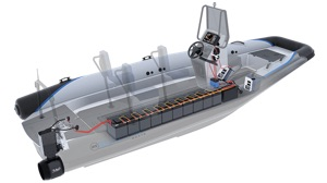 electric RIB battery pack shown in cutaway view under deck of boat