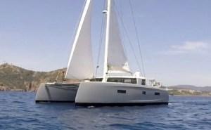 electric catamaran at sea