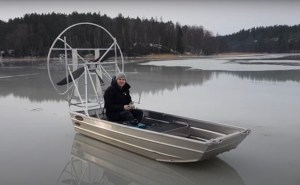 electric ice airboat on frozen lake