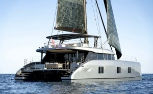 electric boat awards - an electric sailboat under full sail
