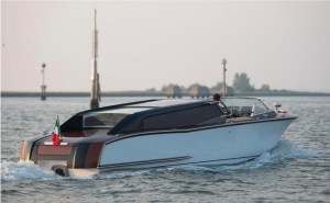 electric water taxi in waters off Venice