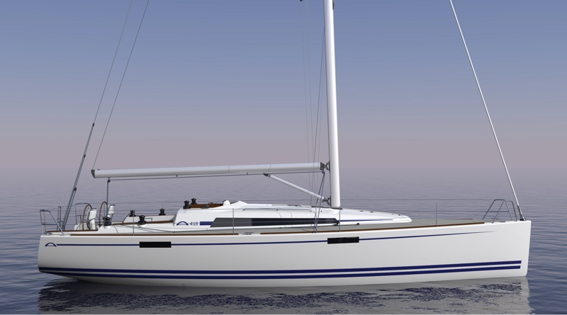 Electric propulsion Arcona 415 sailboat on the water