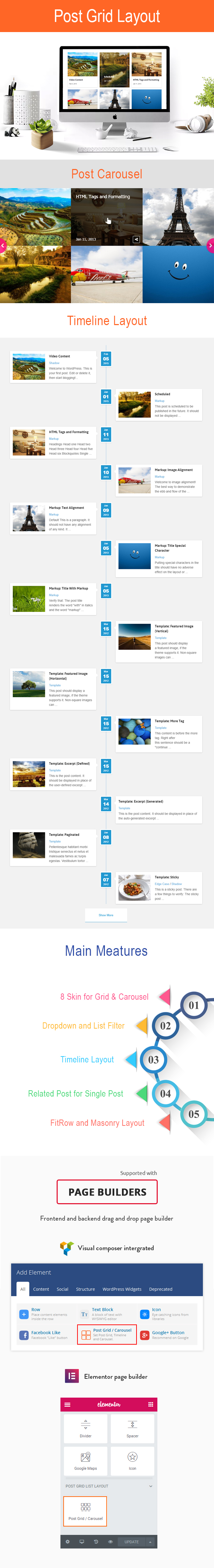 Wordpress Post Grid / List / Timeline Layout Con Carrusel y Post Relacionado