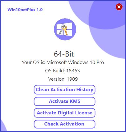 Win10actPlus 1.1 [Window 10 Activator] With Crack