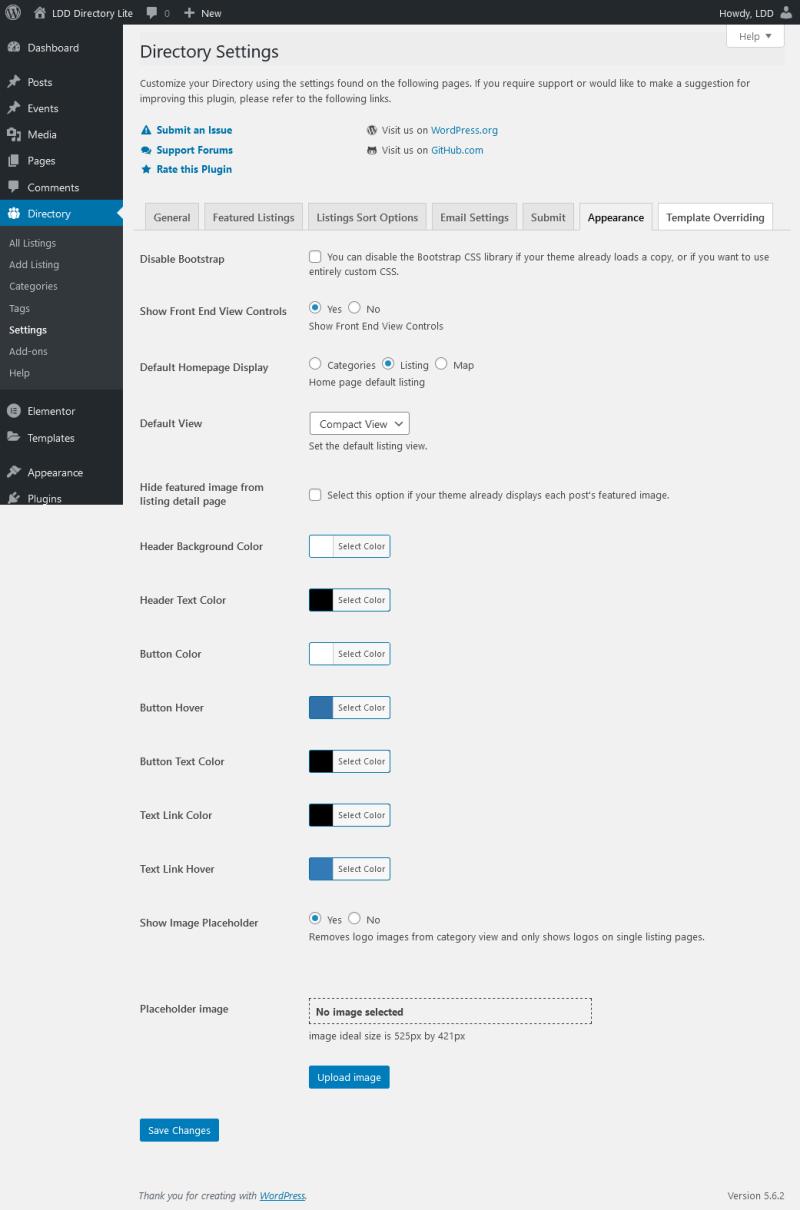 LDD Directory Lite - Appearance Settings