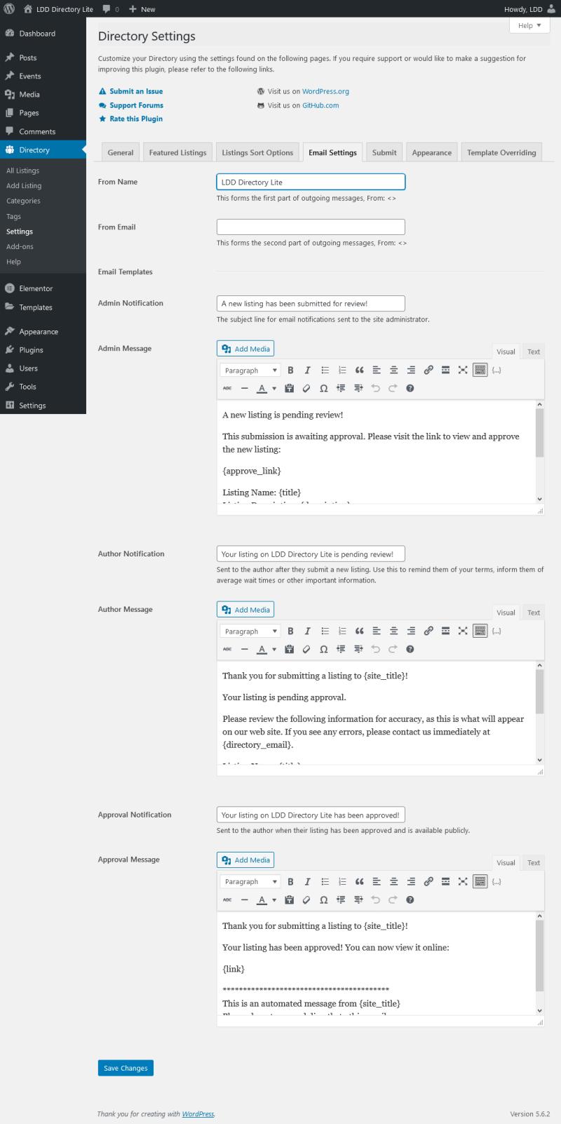 LDD Directory Lite - Email Settings