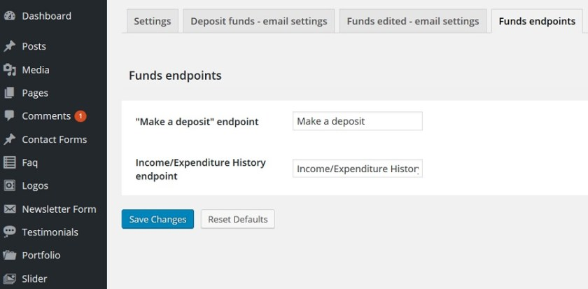 Endpoint Settings
