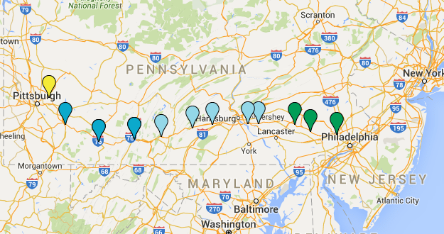 PlugInSites.org PA Turnpike Map Dec2015