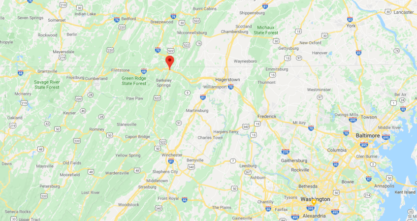 Western Maryland Fast Charger map