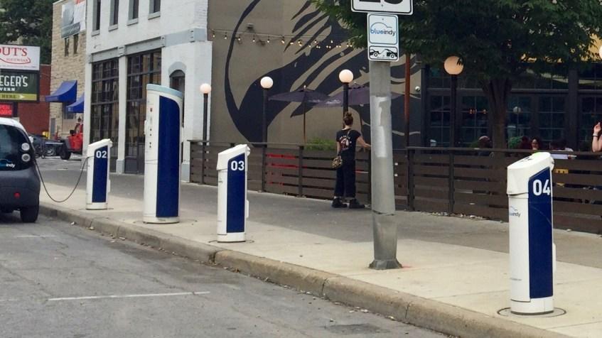BlueIndy EV charging stations on curb