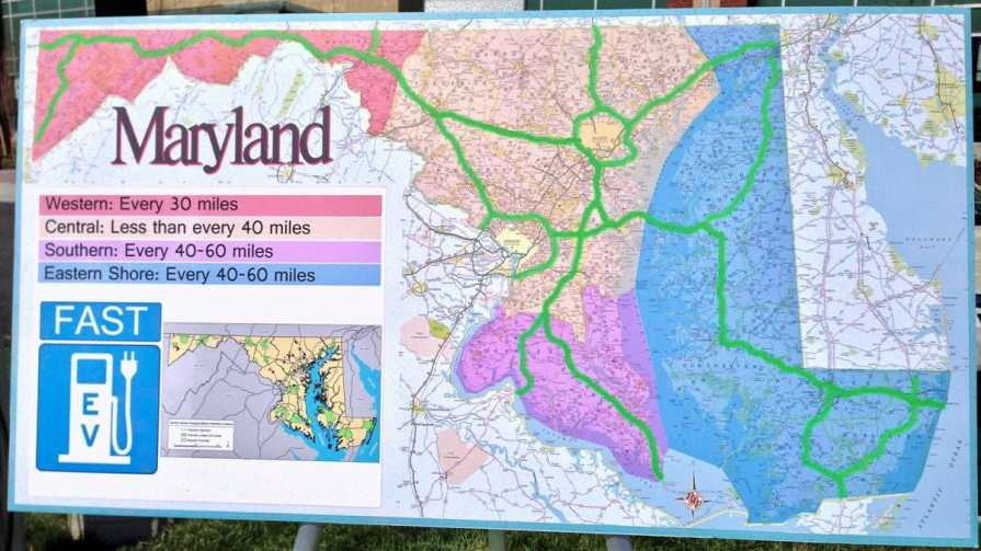 Maryland network fast charger map