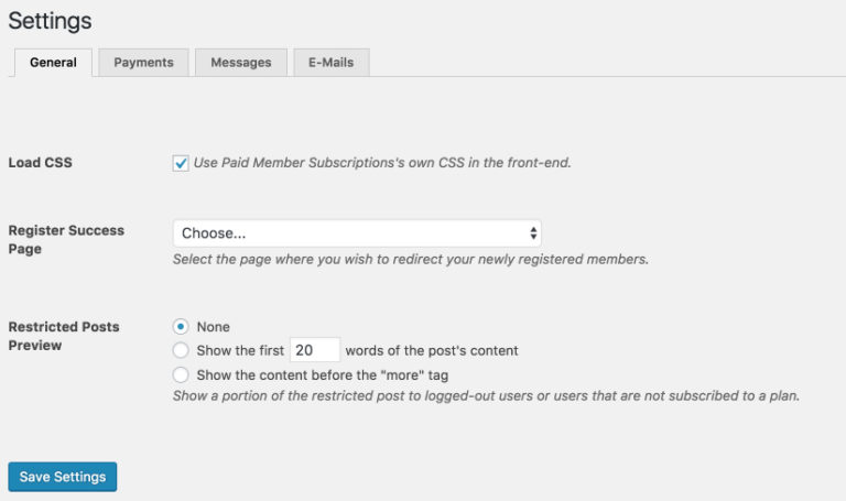 A snapshot of the simple to use global settings page.