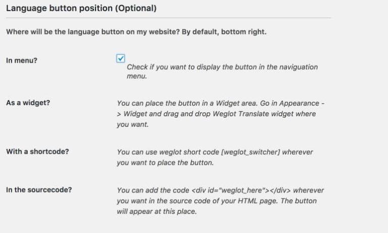 Weglot configuration part 3