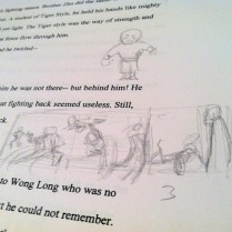 thumbnails sketched into the margins of the manuscript.
