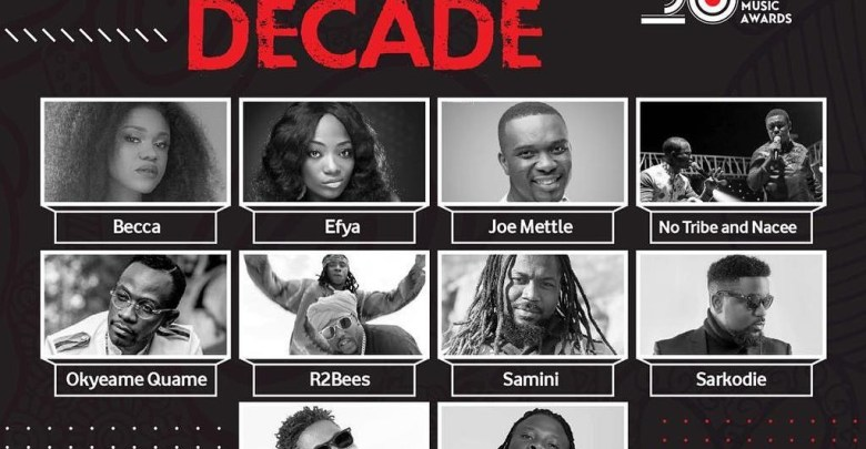 VGMA 20 artiste of the decade nominees