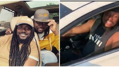 Samini and Brainy Beatz with the car