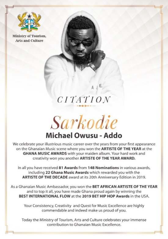 Sarkodie Year of Return citation