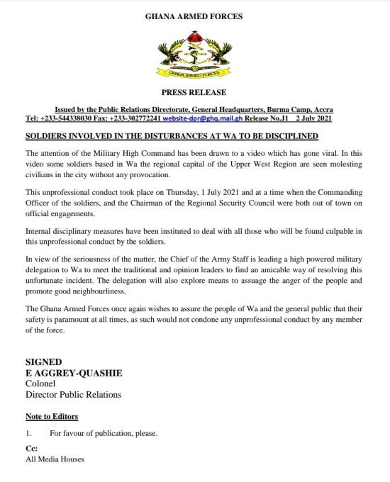 Soldiers Wa Disturbances to be Disciplined