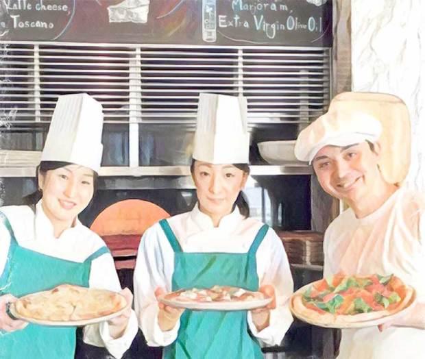 the pizza bar on 38thピザ体験教室でルカ先生と記念撮影