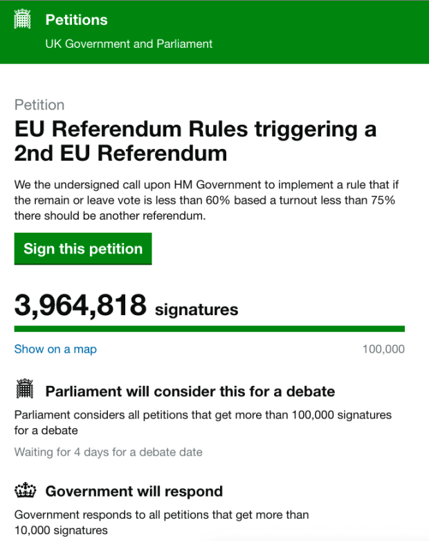 Petition UK parliament