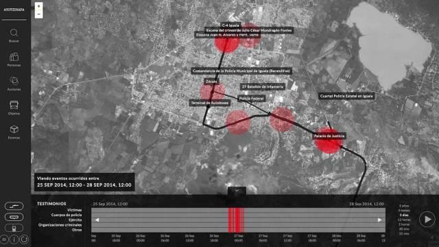 ayotzinapa, arquitectura forense, mapa interactivo, 43,