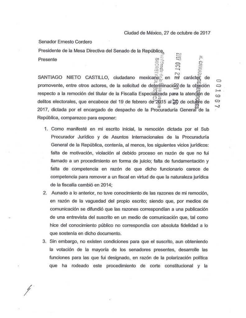 Carta de Nieto al Senado para no ser restituido 1 de 2
