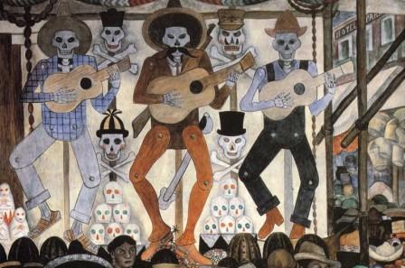 """Detalle de """"Un Domingo en la Alameda"""" de Diego Rivera"""